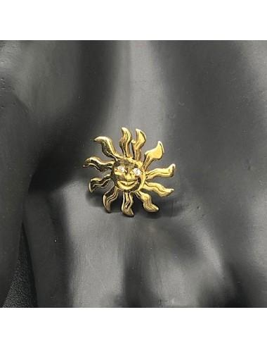 Spilla da giacca con sole in oro giallo